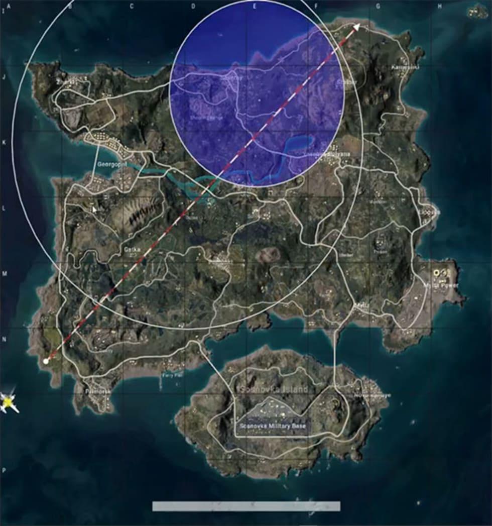 PUBGs karta med den nya blå cirkeln.