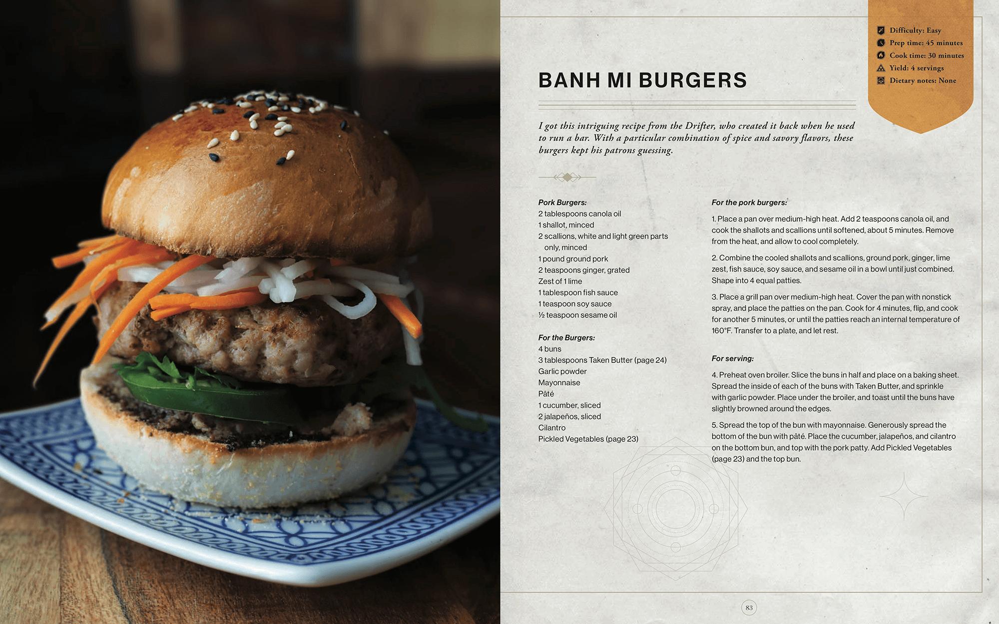 Recept för en Bahn Mi-hamburgare.